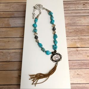 Turquoise Long Tassel Necklace